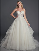Χαμηλού Κόστους Φορέματα Χορού Αποφοίτησης-Βραδινή τουαλέτα Καρδιά Ουρά μέτριου μήκους Δαντέλα / Τούλι Αμάνικο Sexy Φορέματα γάμου φτιαγμένα στο μέτρο με Χάντρες / Πούλιες 2020