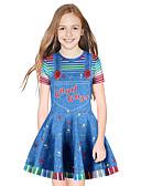 זול שמלות לבנות-שמלה מעל הברך שרוולים קצרים פסים / טלאים מתוק / סגנון חמוד בנות ילדים / כותנה