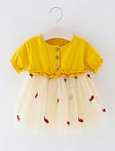 Χαμηλού Κόστους Baby Boys' One-Piece-Μωρό Αγορίστικα Ενεργό / Βασικό Patchwork / Φρούτα Patchwork Κοντομάνικο Πάνω από το Γόνατο Φόρεμα Κίτρινο / Νήπιο