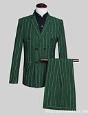 povoljno Odijela-Sive boje / Tamno zelena Prugasti uzorak Kroj po mjeri polyster Odijelo - Stepenasti Droit 4 boutons