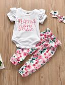זול סטים של ביגוד לתינוקות-סט של בגדים כותנה שרוולים קצרים קפלים / דפוס פרחוני יום יומי / פעיל בנות תִינוֹק / פעוטות
