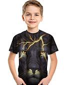 ราคาถูก เสื้อเด็กผู้ชาย-เด็ก Toddler เด็กผู้ชาย ซึ่งทำงานอยู่ พื้นฐาน สิงโต ลายพิมพ์ 3D สัตว์ ลายพิมพ์ แขนสั้น เสื้อยืด สีดำ