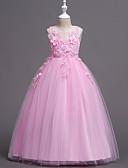 זול שמלות לילדות פרחים-נסיכה עד הריצפה שמלה לנערת הפרחים  - פוליאסטר / תחרה / טול ללא שרוולים עם תכשיטים עם תחרה / דוגמא \ הדפס / שחבור על ידי LAN TING Express