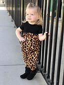 povoljno The Freshest One-Piece-Dijete Djevojčice Aktivan / Osnovni Leopard Print Kratki rukav Pamuk Kombinezon Crn / Dijete koje je tek prohodalo