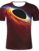 זול טישרטים לגופיות לגברים-גלקסיה / 3D / גראפי צווארון עגול מידות גדולות כותנה, טישרט - בגדי ריקוד גברים דפוס יין