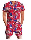 ราคาถูก จั้มสูทผู้ชาย & ชุดสวมทั้งตัว-สำหรับผู้ชาย พื้นฐาน คอวี สีดำ สีน้ำตาลอ่อน สีน้ำเงิน Romper Onesie, รูปเรขาคณิต ลายพิมพ์ M L XL