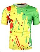 ราคาถูก กางเกงผู้ชาย-สำหรับผู้ชาย ขนาดของยุโรป / อเมริกา เสื้อเชิร์ต คอกลม ลายบล็อคสี สีเหลือง L / แขนสั้น