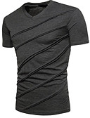 baratos Camisetas & Regatas Masculinas-Homens Camiseta Sólido Decote V Preto