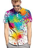 ราคาถูก เสื้อเชิ้ตผู้ชาย-สำหรับผู้ชาย ขนาดของยุโรป / อเมริกา เชิร์ต ลายพิมพ์ ลายบล็อคสี ขาว L / แขนสั้น