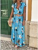 povoljno Print Dresses-Žene Pamuk Slim Korice Haljina V izrez Maxi