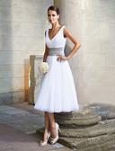 Χαμηλού Κόστους Φορέματα Παρανύμφων-Γραμμή Α Λαιμόκοψη V Κάτω από το γόνατο Σιφόν Κομψό Κοκτέιλ Πάρτι / Γαμήλιο Πάρτι Φόρεμα 2020 με Ζώνη / Κορδέλα