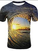 baratos Camisetas & Regatas Masculinas-Homens Tamanhos Grandes Camiseta Estampado, Galáxia / 3D Decote Redondo Castanho Claro