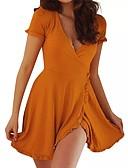 זול שמלות מיני-מעל הברך Ruched, אחיד - שמלה גזרת A בסיסי בגדי ריקוד נשים