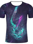 billige T-skjorter og singleter til herrer-T-skjorte Herre - Geometrisk / Fargeblokk / Ensfarget, Trykt mønster Gatemote / overdrevet Svart