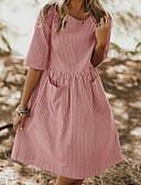billige Kjoler med trykk-Dame A-linje Kjole Midi Dusty Rose
