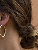 ราคาถูก ชุด-สำหรับผู้หญิง ต่างหูแบบห่วง ต่างหู ง่าย พื้นฐาน แฟชั่น ที่ทันสมัย ต่างหู เครื่องประดับ สีทอง / สีเงิน สำหรับ ของขวัญ ทุกวัน Street ทำงาน 1 คู่