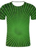 billige T-skjorter og singleter til herrer-T-skjorte Herre - Geometrisk / Fargeblokk / Ensfarget, Trykt mønster Gatemote / overdrevet Grønn