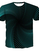 זול טישרטים לגופיות לגברים-קולור בלוק / 3D / גראפי צווארון עגול סגנון רחוב / פאנק & גותיות מידות גדולות טישרט - בגדי ריקוד גברים דפוס תלתן XXXXL / שרוולים קצרים