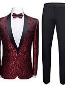 Χαμηλού Κόστους Κοστούμια-Σμόκιν Κατά παραγγελία εφαρμογή Στρογγυλεμένο πέτο Μονόπετο Ενός Κουμπιού Πολυεστέρας Ζακάρ