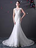 Χαμηλού Κόστους Νυφικά-Τρομπέτα / Γοργόνα Με Κόσμημα Ουρά μέτριου μήκους Δαντέλα / Τούλι Κανονικοί ιμάντες Φορέματα γάμου φτιαγμένα στο μέτρο με Χάντρες / Διακοσμητικά Επιράμματα / Κουμπί 2020