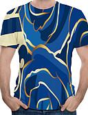 povoljno Muški šalovi-Veličina EU / SAD Majica s rukavima Muškarci Dnevni Nosite / Praznik Color block / 3D / Grafika Okrugli izrez Print Plava / Kratkih rukava