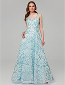 זול שמלות נשף-גזרת A צווארון V עד הריצפה נצנצים נוצץ וזוהר ערב רישמי שמלה עם נצנצים / סרט על ידי TS Couture®