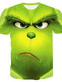 Χαμηλού Κόστους Αντρικές Μπλούζες με Κουκούλα & Φούτερ-Ανδρικά Μεγάλα Μεγέθη T-shirt Συνδυασμός Χρωμάτων Στρογγυλή Λαιμόκοψη Πράσινο του τριφυλλιού