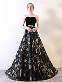 זול שמלות נשף-גזרת A סטרפלס שובל סוויפ \ בראש סאטן / קטיפה גב פתוח ערב רישמי שמלה עם דוגמא \ הדפס על ידי LAN TING Express