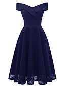 Χαμηλού Κόστους Βραδινά Φορέματα-Γραμμή Α Ώμοι Έξω Κάτω από το γόνατο Δαντέλα Σέξι / Εμπνευσμένο από Βίντατζ Χοροεσπερίδα / Αργίες Φόρεμα 2020 με Εισαγωγή δαντέλας