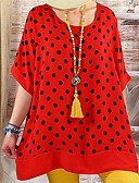 ราคาถูก ชุดเดรสพิมพ์ลาย-สำหรับผู้หญิง เสื้อเชิร์ต โบโฮ ลายต่อ / ลายพิมพ์ หลวม ลายจุด ทับทิม XXXL