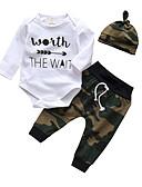 ราคาถูก เสื้อผ้าสำหรับเด็กทารกผู้หญิง-ทารก เด็กผู้ชาย ไม่เป็นทางการ / ซึ่งทำงานอยู่ ลายพิมพ์ ลายพิมพ์ แขนยาว ปกติ ฝ้าย ชุดเสื้อผ้า ขาว / Toddler