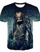 Χαμηλού Κόστους Πουκάμισο-Ανδρικά Μεγάλα Μεγέθη T-shirt Εξωγκωμένος 3D / Κινούμενα σχέδια Στρογγυλή Λαιμόκοψη Στάμπα Βαθυγάλαζο XXXXL / Κοντομάνικο