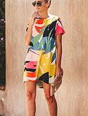 שמלות נשים-מעל הברך גיאומטרי - שמלה ישרה בסיסי בגדי ריקוד נשים