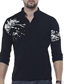 ราคาถูก เสื้อยืดและเสื้อกล้ามผู้ชาย-สำหรับผู้ชาย เสื้อเชิร์ต ฝ้าย ลายพิมพ์ คอวี กราฟฟิค / ลายตัวอักษร สีดำ