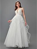 ราคาถูก ชุดแต่งงาน-A-line Plunging Neckline ชายกระโปรงลากพื้น Tulle ชุดแต่งงานที่ทำขึ้นเพื่อวัด กับ ของประดับด้วยลูกปัด โดย LAN TING BRIDE®