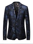 זול ז'קטים-נייבי כהה מעוטר גזרה צרה פוליאסטר חליפה - פתוח Single Breasted Two-button