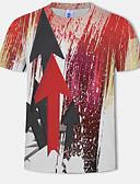 billige Herreskjorter-Bomull Rund hals Store størrelser T-skjorte Herre - 3D / Grafisk, Trykt mønster Rød