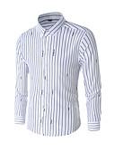 ราคาถูก เสื้อเชิ้ตผู้ชาย-สำหรับผู้ชาย เชิร์ต ลายแถบ ขาว