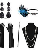 ราคาถูก ฟิล์มกันรอยสำหรับนาฬิกาอัจฉริยะ-Great Gatsby สร้อยคอ ต่างหู เรทโทร / วินเทจ 1920s Gatsby ขนนกเทียม ชุดเครื่องประดับเครื่องแต่งกาย Outfits Masquerade สำหรับ ปาร์ตี้ / ค็อกเทล เทศกาล วันฮาโลวีน เทศกาลคานาวาล สำหรับผู้หญิง / ถุงมือ