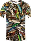 baratos Moda Íntima Exótica para Homens-Homens Tamanhos Grandes Camiseta Estampado, 3D / Animal Decote Redondo Arco-íris
