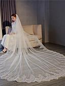 ราคาถูก ม่านสำหรับงานแต่งงาน-ชั้นเดียว งานผ้าขอบลายลูกไม้ / สง่า&หรูหรา ผ้าคลุมหน้าชุดแต่งงาน ผ้าคลุมหน้าในโบสถ์ กับ เลื่อม / เข็มกลัด 118.11นิ้ว (300ซม.) ลูกไม้ / Tulle
