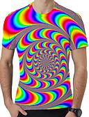 billige T-skjorter og singleter til herrer-Rund hals Store størrelser T-skjorte Herre - 3D / Regnbue, Trykt mønster Regnbue / Kortermet / Sommer