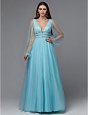 Χαμηλού Κόστους Βραδινά Φορέματα-Γραμμή Α Βυθίζοντας το λαιμό Μακρύ Τούλι Κομψό & Πολυτελές / Φανταχτερό Επίσημο Βραδινό Φόρεμα 2020 με Χάντρες / Πλισέ