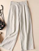 baratos Calças Femininas-Mulheres Básico Perna larga Calças - Sólido Linho Preto Branco Khaki S M L