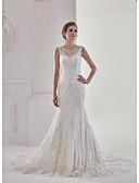 baratos Vestidos de Casamento-Sereia Bateau Neck Cauda Corte Renda / Tule Alças Regulares Transparências Vestidos de casamento feitos à medida com Apliques / Renda 2020