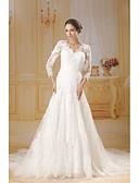 billiga Brudklänningar-Trumpet / sjöjungfru V-hals Kapellsläp Spets / Tyll 3/4 ärm Vacker i svart Bröllopsklänningar tillverkade med Spets 2020