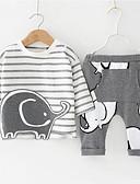 זול לבנים סטים של ביגוד לתינוקות-סט של בגדים כותנה שרוול ארוך דפוס פסים / גיאומטרי יום יומי / בסיסי בנים תִינוֹק