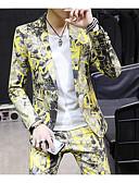 preiswerte Anzüge-Grau / Gelb / Himmelblau Mit Mustern Reguläre Passform Polyester Anzug - Fallendes Revers Einreiher - 1 Knopf