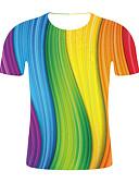 ราคาถูก เสื้อยืดและเสื้อกล้ามผู้ชาย-สำหรับผู้ชาย ขนาดพิเศษ เสื้อเชิร์ต คอกลม ลายบล็อคสี / สายรุ้ง สายรุ้ง