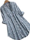 billige Bluser-Bomull Løstsittende Skjortekrage Skjorte Dame - Blomstret, Flettet Blå